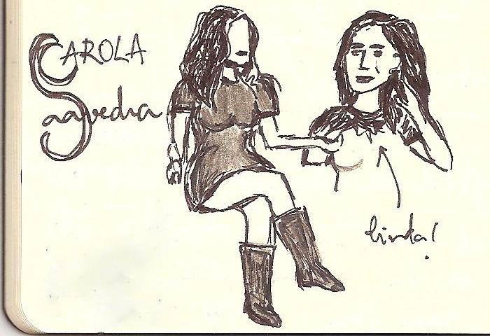 Eu não sei desenhar pessoas. E não me preocupei em desenhar a cadeira em que ela estava sentada.