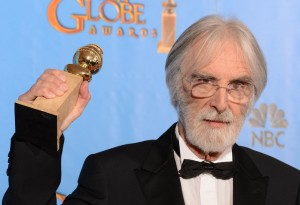 Michael Haneke with his best foreign film Golden Globe