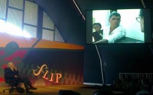 Metalinguagem na Flip: Coutinho se vê em um de seus filmes.